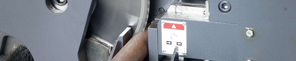 picture of sawing material on a doall circular sawing machine